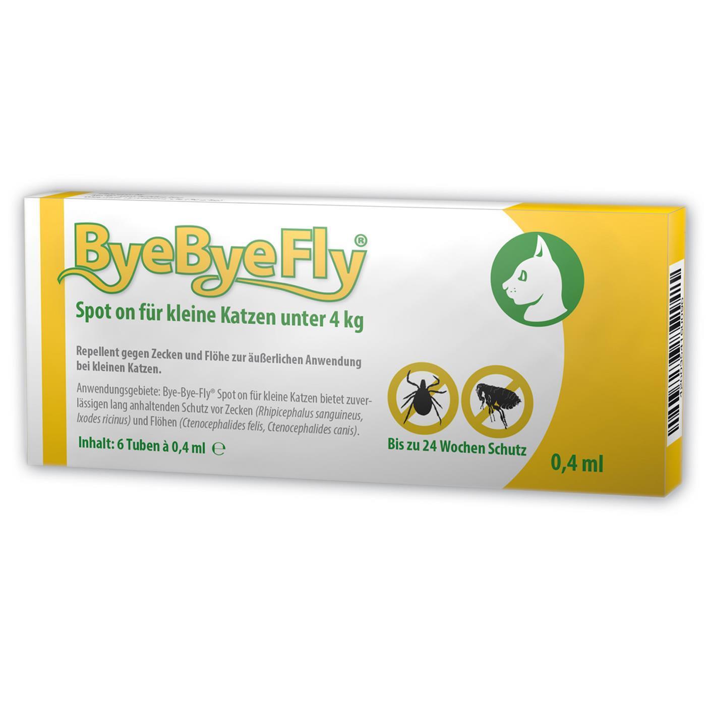 bye bye fly spot on f r katzen gegen zecken fl he 6 tuben ebay. Black Bedroom Furniture Sets. Home Design Ideas