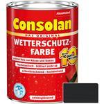 Consolan Wetterschutz-Farbe für Holz, schwarz 2,5 Liter