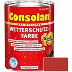 Consolan Wetterschutz-Farbe für Holz, schwedenrot 2,5 Liter