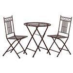 Metall Sitzgarnitur PARIS Landhaus Antik-Look,  1 Tisch & 2 Stühle