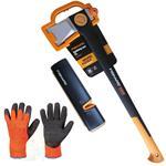 FISKARS© Spaltaxt X25 XL+Xsharp Axt- & Messerschärfer+Handschuhe