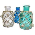 Glas-Flasche mit Decor Muscheln & Jute, farblich sortiert, H 16,5cm