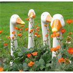 4 Stück Gartenfigur Gänsehals GERTRUD Gartenstecker