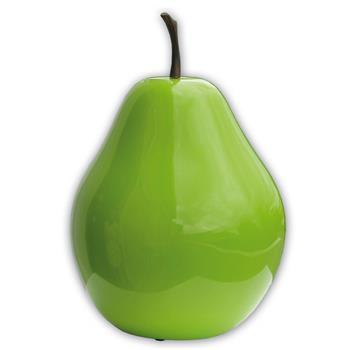 Deko-Birne Polystone Hochglänzend grün H=22,5cm