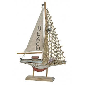 deko segelboot beach segelschiff aus holz mit netz und muscheln 19x3x31cm ebay. Black Bedroom Furniture Sets. Home Design Ideas