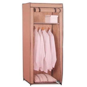 Textil-Kleiderschrank Faltschrank mit Ablage beige, B70xT46xH148cm