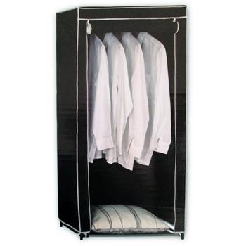 Textil-Kleiderschrank Faltkleiderschrank schwarz, B70xT46xH148cm