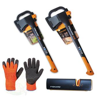 fiskars axte set spaltaxt x17 x15 handschuhe xsharp. Black Bedroom Furniture Sets. Home Design Ideas