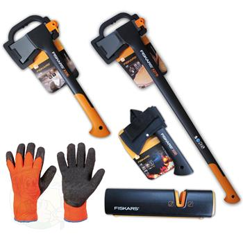 fiskars axt set spaltaxt x27 x10 x5 handschuhe xsharpsch rfer. Black Bedroom Furniture Sets. Home Design Ideas